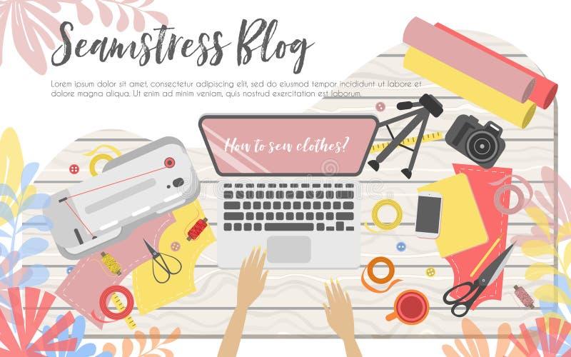 Miejsce pracy szwaczki blogger ilustracja wektor