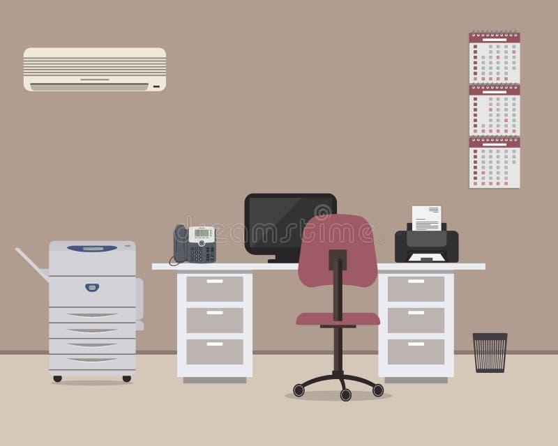 Miejsce pracy urzędnik z białym biurkiem, purpurowy krzesło, odbitkowa maszyna, conditioner abd inny protestuje ilustracji