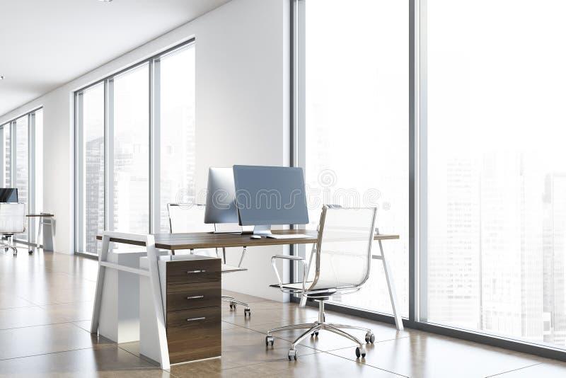 Miejsce pracy w białych biurach ilustracja wektor