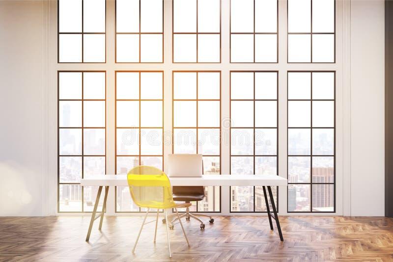 Miejsce pracy z białym biurkiem, biurowym krzesłem i przejrzystym żółtym gościa krzesłem, ilustracji
