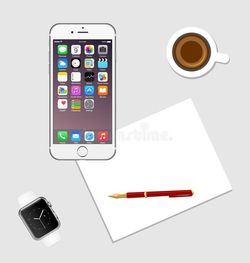 Miejsce pracy Z Jabłczanym Iphone ilustracja wektor