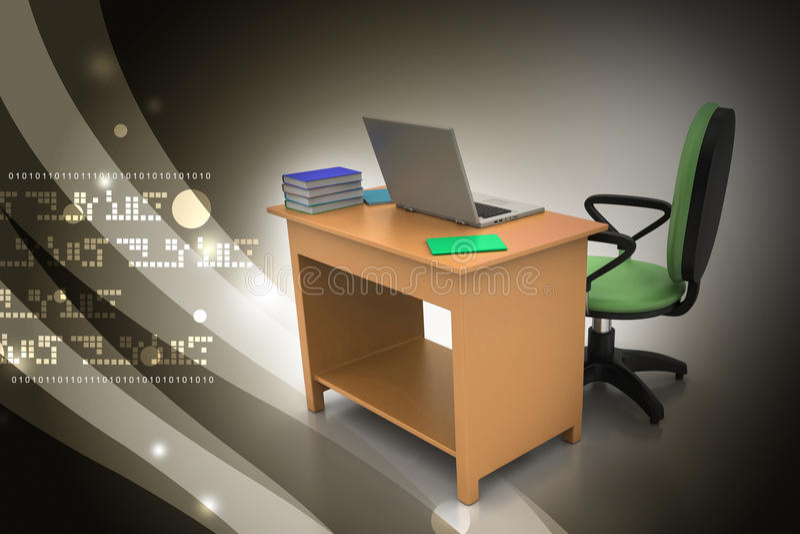 Miejsce pracy z komputerem ilustracji
