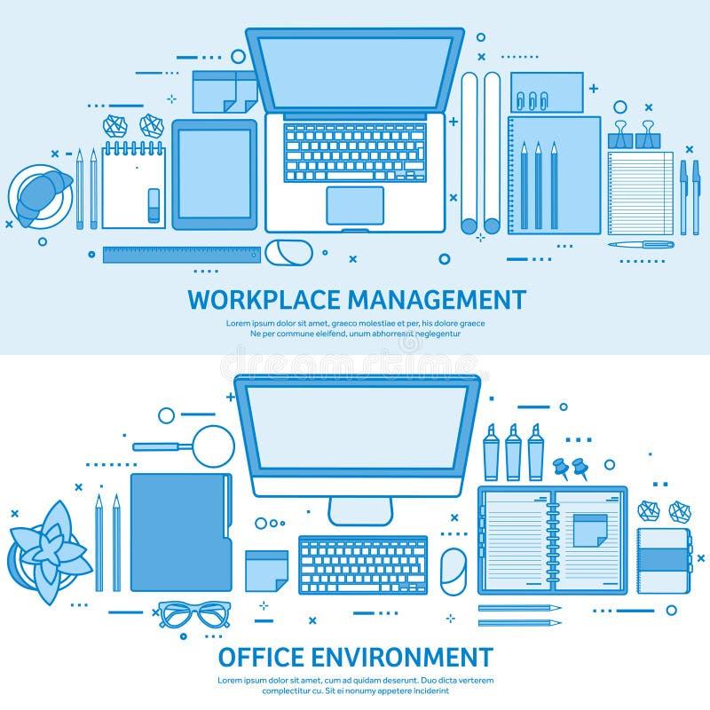 Miejsce pracy z komputerem, laptopem, dokumentami, papierami, notepad i ołówkiem, Biurowa praca, workspace zarządzanie Płaski błę ilustracji