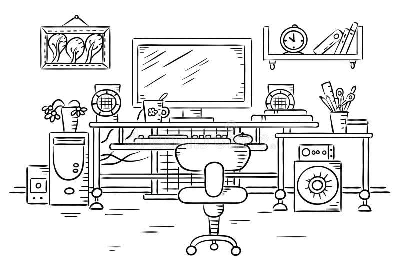 Miejsce pracy z komputerowym stołem royalty ilustracja