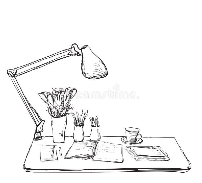 Miejsce pracy z notatnikiem Wewnętrzny nakreślenie ilustracji