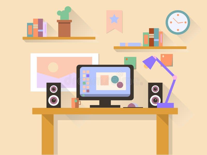 Miejsce pracy z nowożytnym komputerem na stole ilustracja wektor