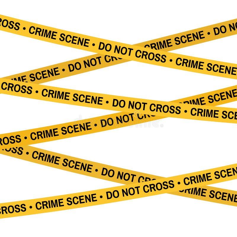 Miejsce przestępstwa żółta taśma, milicyjna linia no Krzyżuje taśmy royalty ilustracja