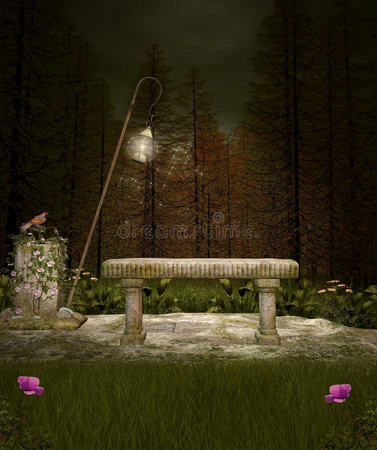 Miejsce spoczynku w mglistym lesie royalty ilustracja