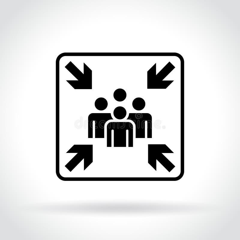 Miejsce spotkania ikona na białym tle royalty ilustracja