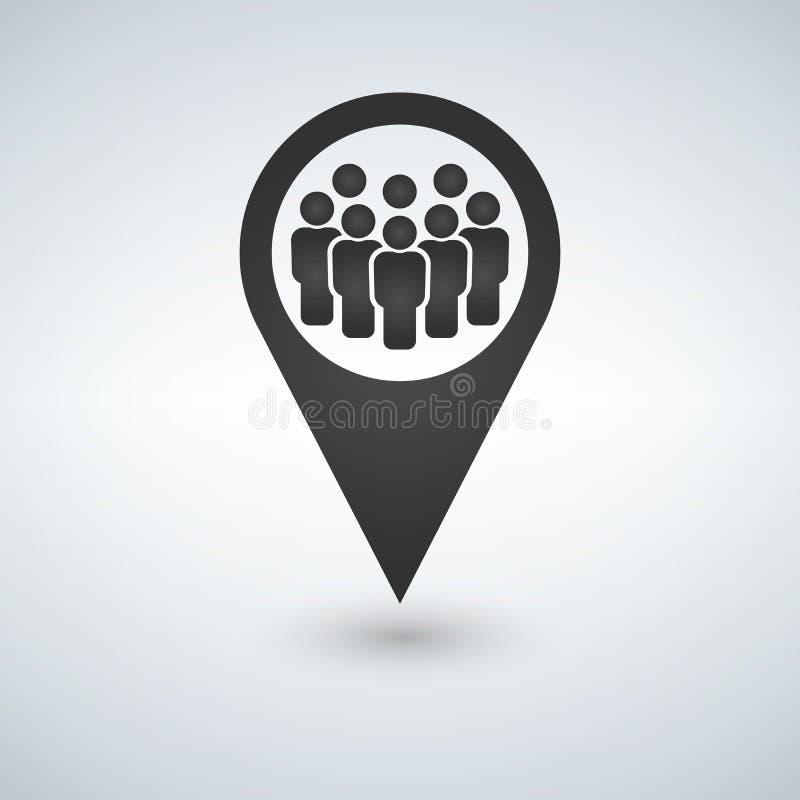 Miejsce spotkania lokaci ikona Przyjaciele w pobliżu Opadowy cieni gps oceny sylwetki symbol Grupy ludzi inside sprecyzowany Wekt royalty ilustracja