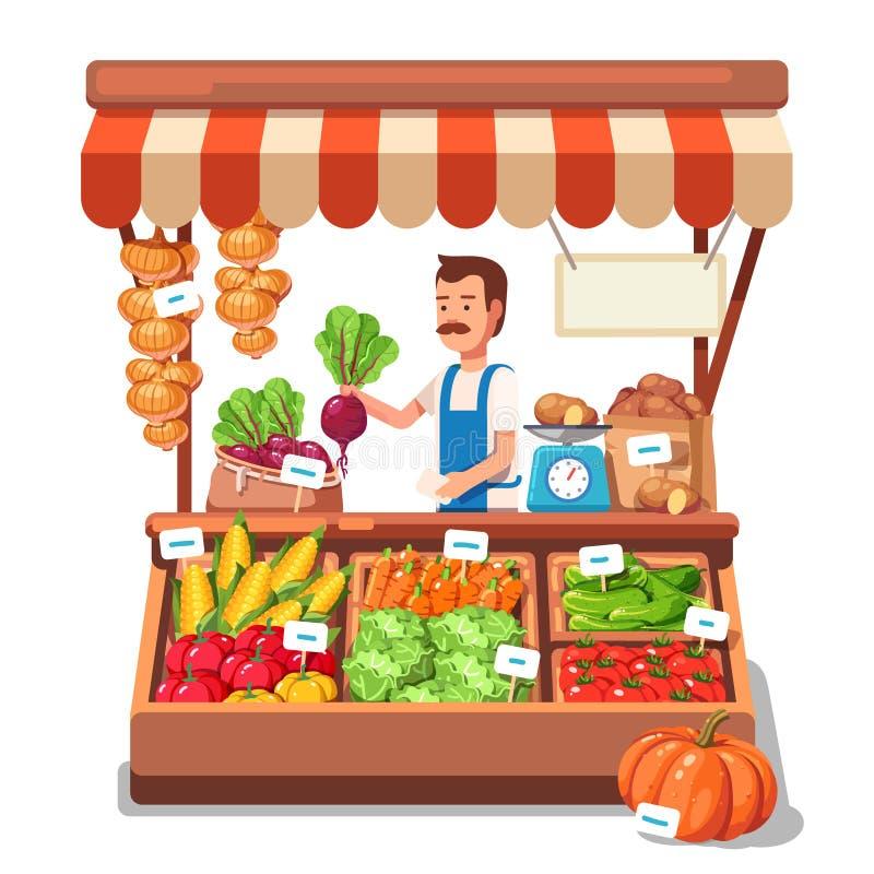 Miejscowego średniorolnego sprzedawania targowi warzywa ilustracja wektor