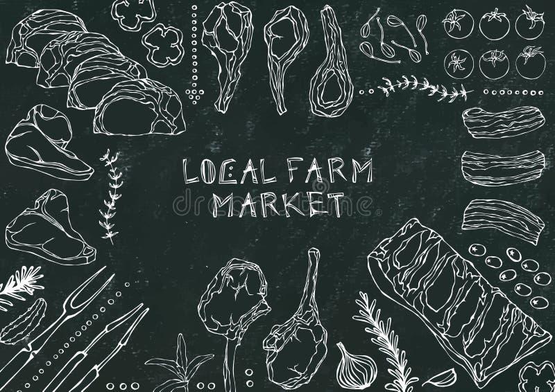 Miejscowego gospodarstwa rolnego rynek Mięśni cięcia wołowina, wieprzowina, baranek, stek, Bezkostny kuper, ziobro pieczeń, Loin  ilustracji