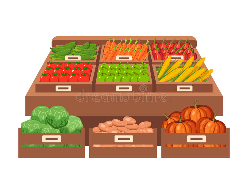 Miejscowego kramu rynek sprzedawań warzywa Płaska wektorowa ilustracja royalty ilustracja