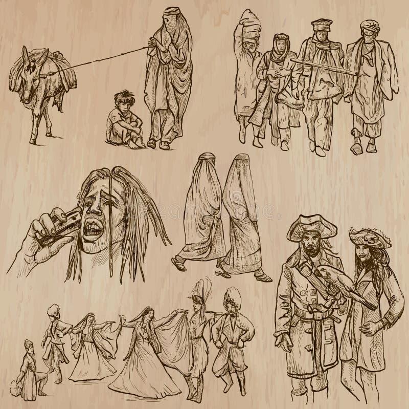 Miejscowi - ręka rysujący wektory royalty ilustracja