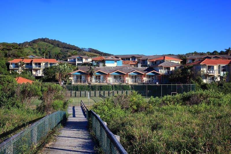 Miejscowość nadmorska w australijczyka krajobrazie zdjęcia royalty free