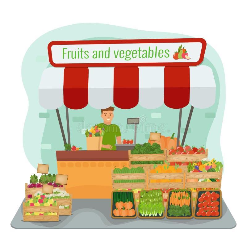 Miejscowych owoc i warzywo rolny rynek farmer szczęśliwy royalty ilustracja
