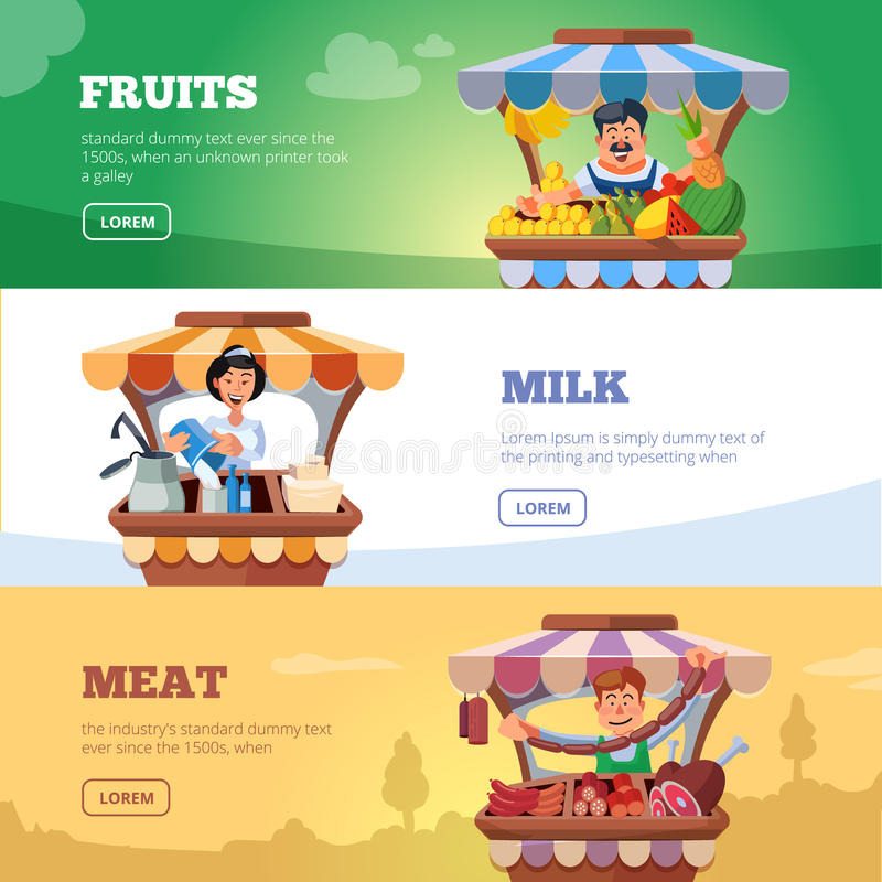 Miejscowych rolników sprzedawania targowi warzywa, mleko i mięso, ilustracja wektor
