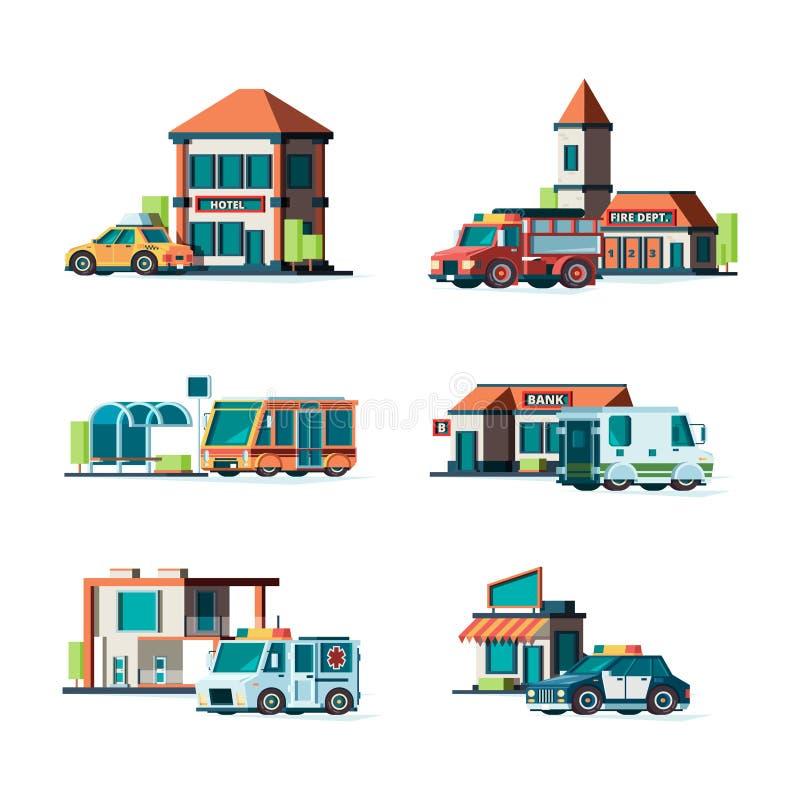 Miejscy budynki Miasto samochody blisko fasady budynku posterunku straży pożarnej urzędu pocztowego policja deponują pieniądze ja royalty ilustracja