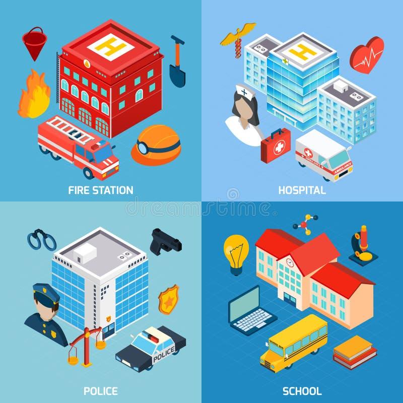 Miejscy budynki Ustawiający royalty ilustracja