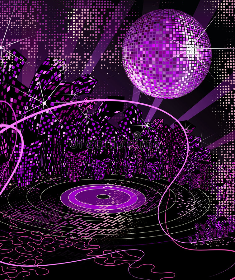 miejska disco noc życia ilustracji