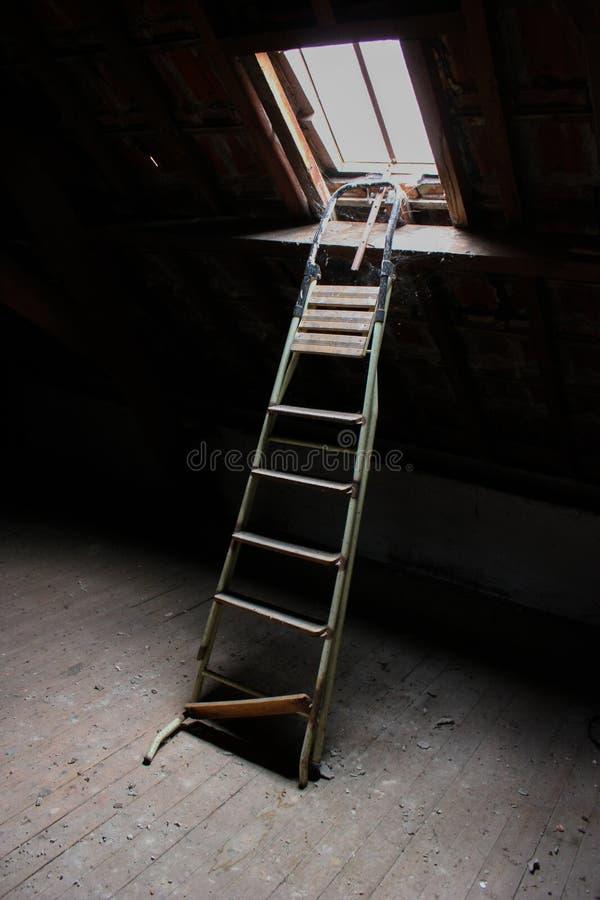 Miejska drabina poszukiwawcza do świetlika w opuszczonym budynku fotografia royalty free