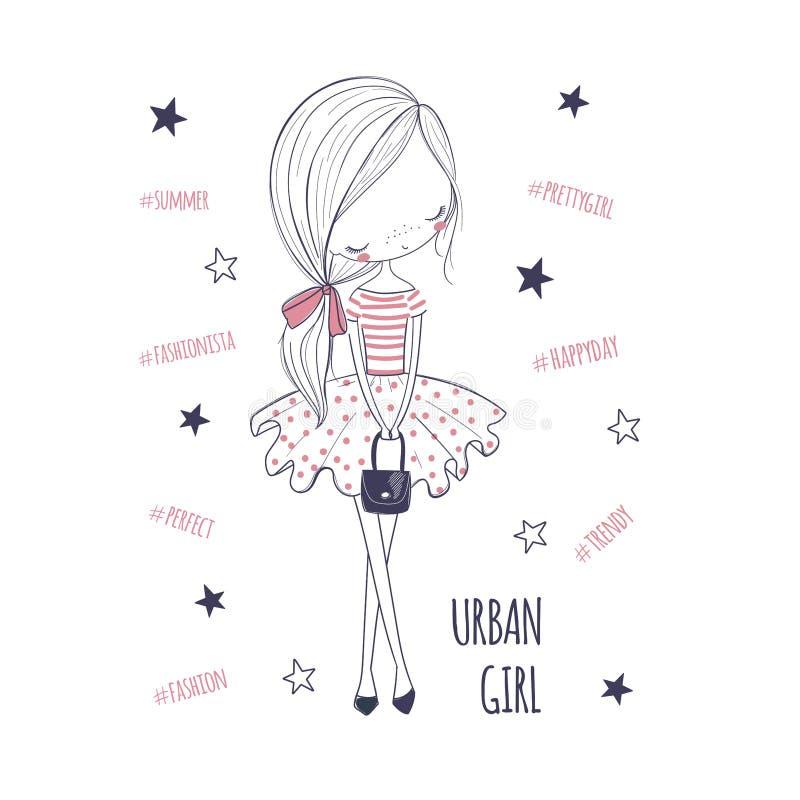 miejska dziewczyna Dziecięca doodle grafika dla dzieciaków odziewać ilustracji