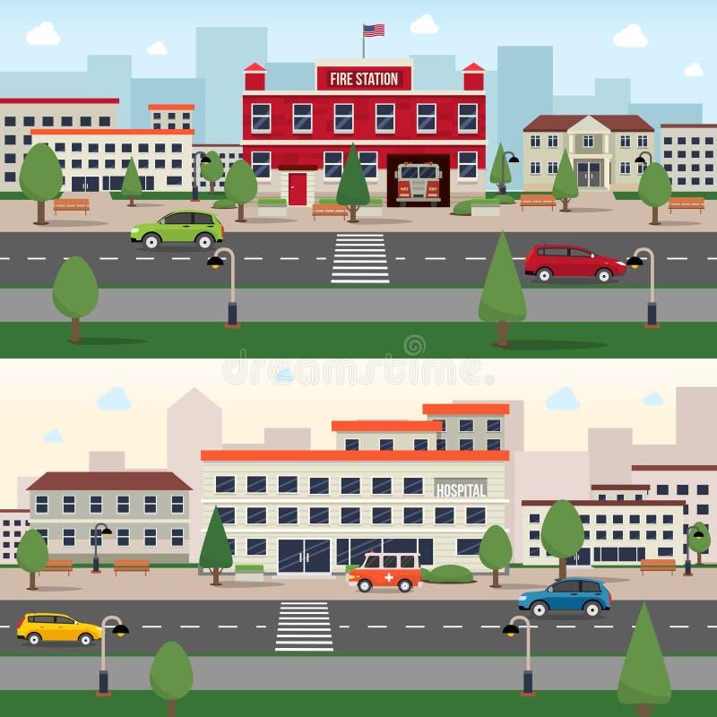 Miejski budynku sztandaru set royalty ilustracja