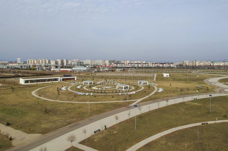 Miejski park blisko Ploiesti, Rumunia, widok z lotu ptaka zdjęcia stock
