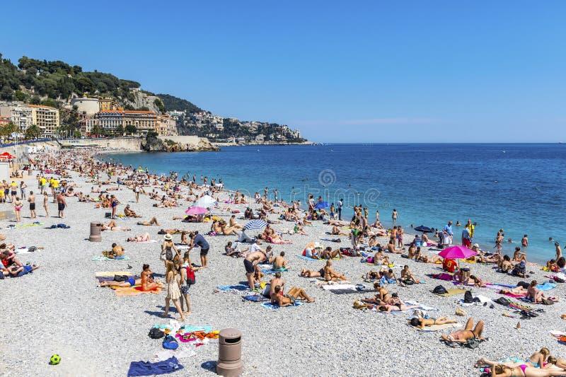 Miejski plażowy pobliski deptaka des Anglais w mieście Ładny, Fren zdjęcia stock