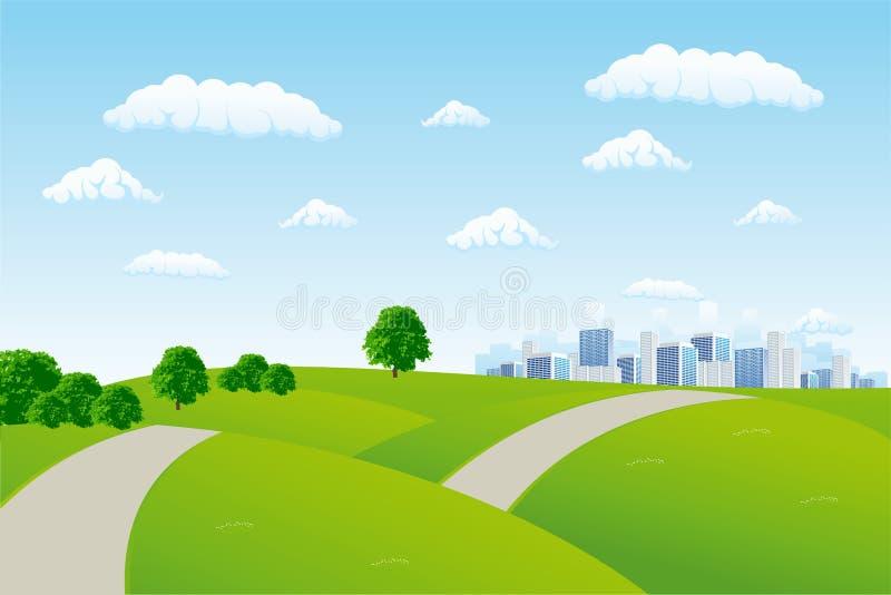 miejskiego pejzażu lato ilustracji