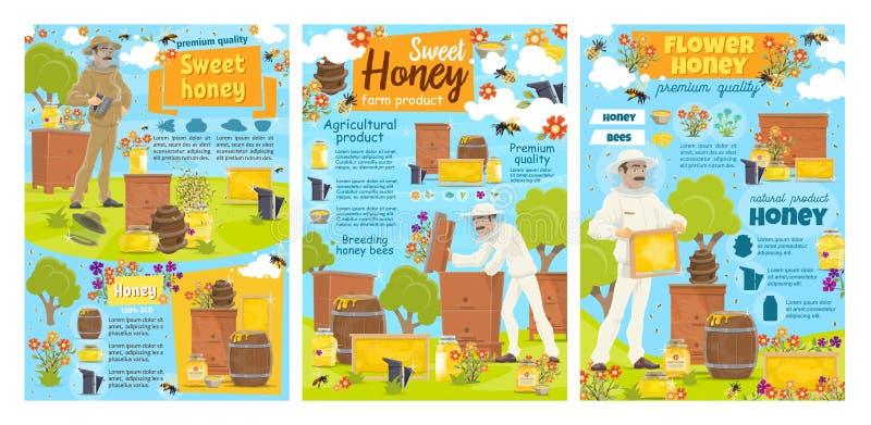 Miel, abejas, panal, colmena Apicultor, colmenar stock de ilustración