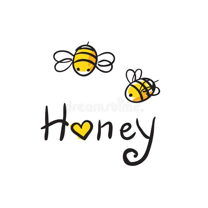 Miel d'amour d'abeille illustration de vecteur