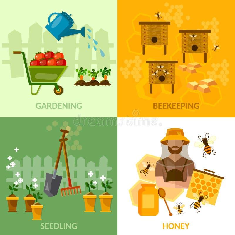 Miel de l'apiculture de jardin et légumes réglés de culture d'abeilles illustration stock