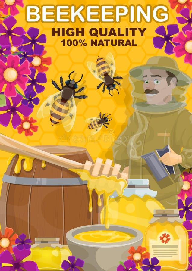 Miel de l'apiculture et homme d'apiarist, vecteur illustration libre de droits
