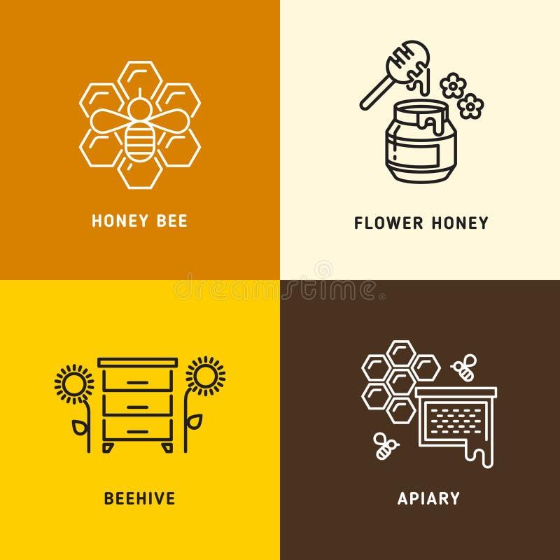 Miel de nature, logos de vecteur de nid d'abeilles d'abeilles illustration stock