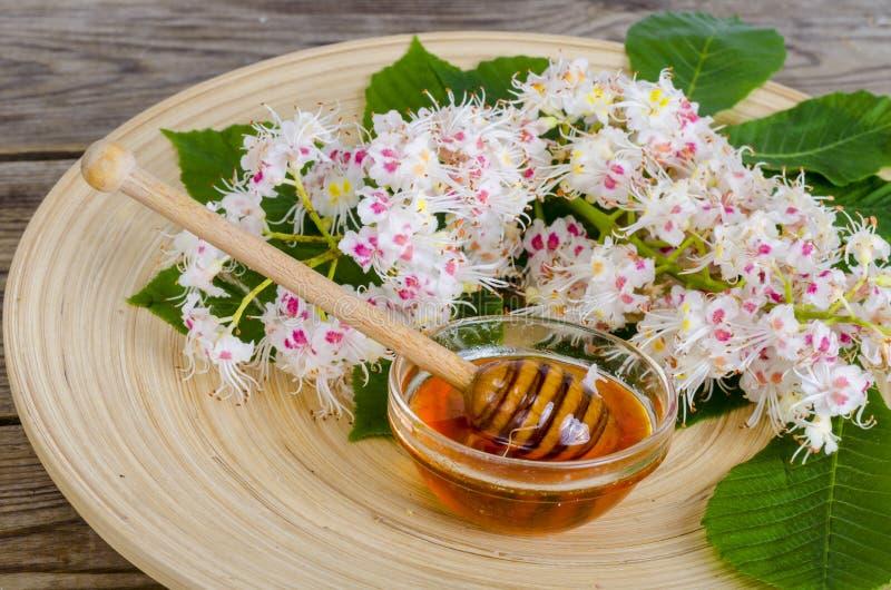 Miel deliciosa de la castaña en vidrio en superficie de madera imágenes de archivo libres de regalías