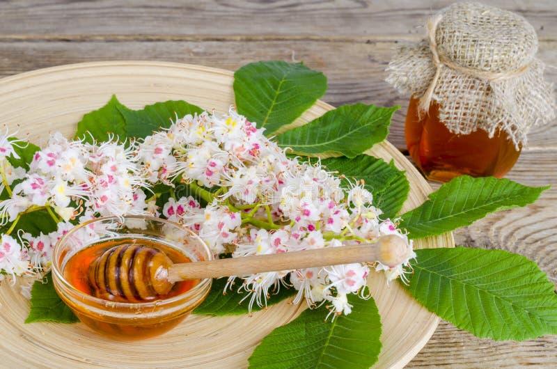 Miel deliciosa de la castaña en vidrio en superficie de madera fotos de archivo libres de regalías
