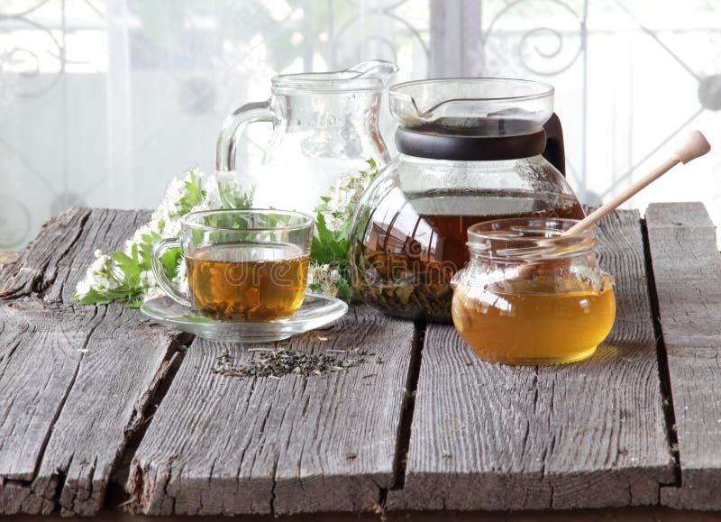Miel en el banco transparente, la leche en un jarro y el té en un transparen imagen de archivo libre de regalías