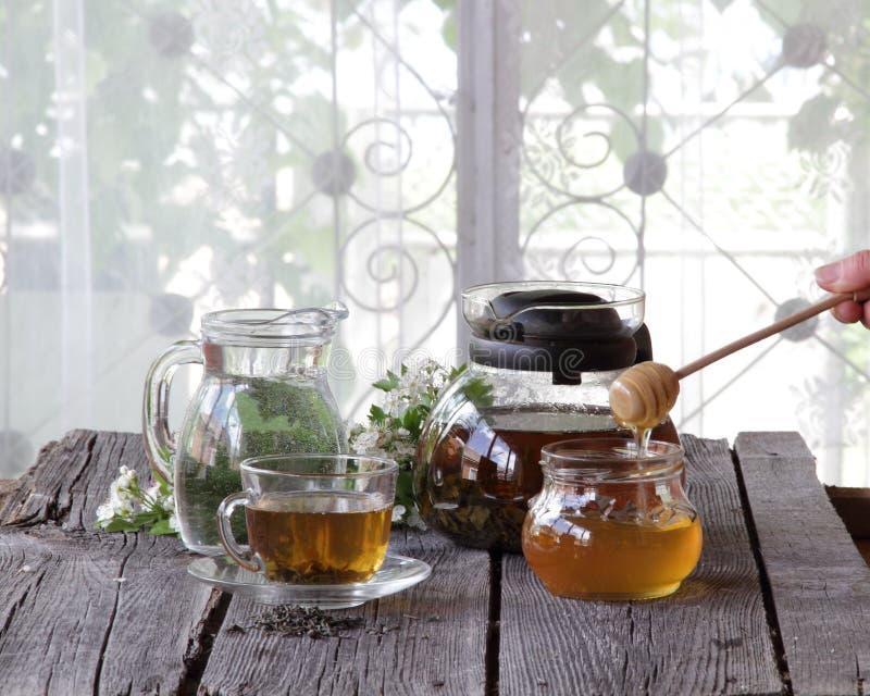 Miel en el banco transparente y té en una taza transparente en una madera fotografía de archivo libre de regalías