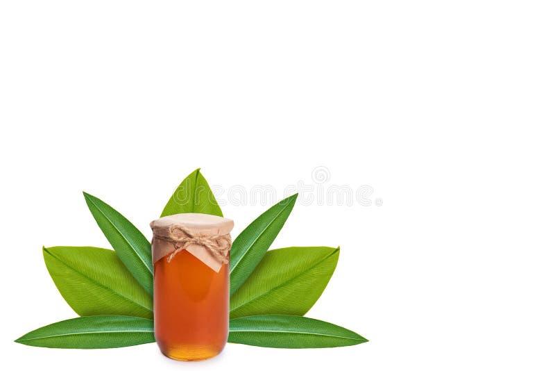 Miel en tarro en el fondo de hojas verdes Aislado en blanco noción del origen natural imagenes de archivo