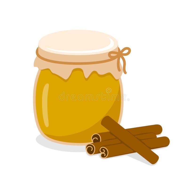 Miel en un tarro con canela libre illustration