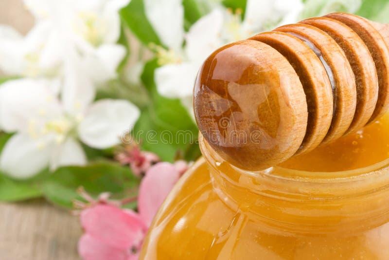 Miel en vidrio y palillo con el flor en la madera imágenes de archivo libres de regalías
