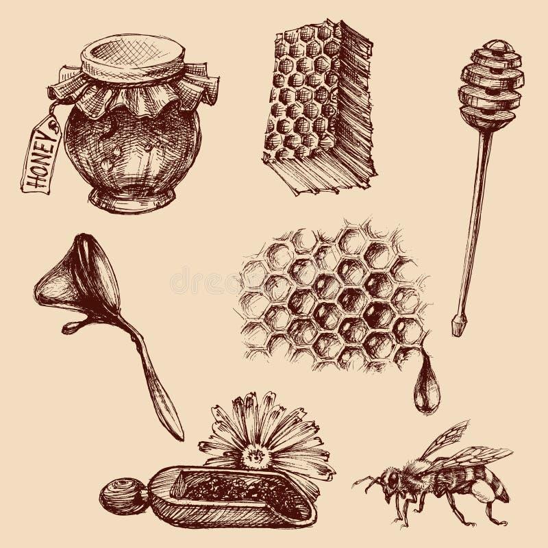 Miel et ensemble d'apiculture illustration stock