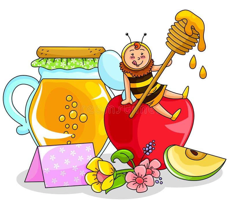 Miel et pomme illustration stock