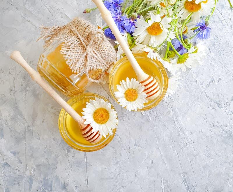 Miel fresca, flor de la margarita, aciano delicioso del producto natural en un fondo concreto gris foto de archivo libre de regalías