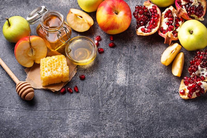 Miel, manzana y granada para Rosh Hashana imágenes de archivo libres de regalías
