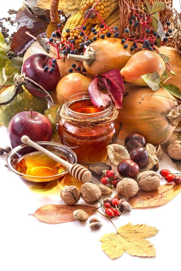 Miel, manzanas y frutas del otoño fotografía de archivo libre de regalías