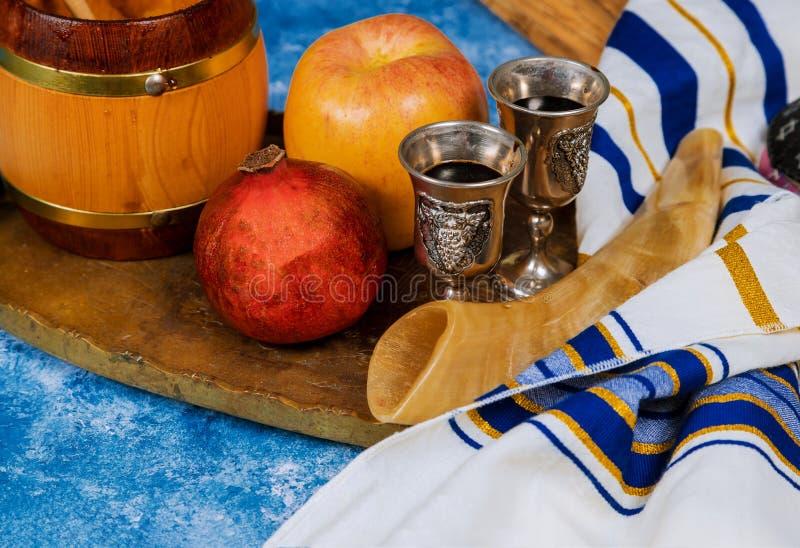 Miel, manzanas y granadas para la celebración judía del Año Nuevo de Rosh Hashana fotografía de archivo libre de regalías
