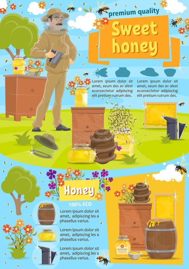 Miel naturel et l'apiculture, vecteur illustration stock