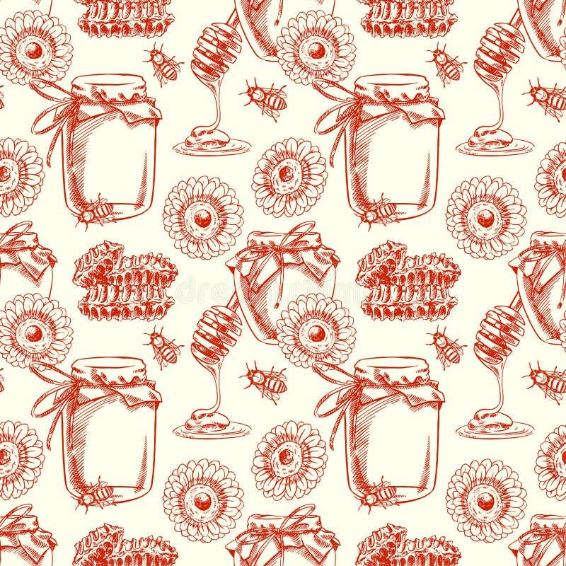Miel sans couture illustration stock